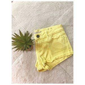 Yellow Denim Bullhead Shorts